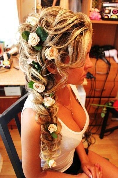 Свадебная прическа плетение на длинные волосы фото